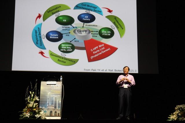 백융기 연세대 교수가 염색체 기반 인간프로테옴 연구가 질병 진단에 기여할 수 있다고 설명하고 있다. - 마드리드=이재웅 동아사이언스 기자 ilju2@donga.com 제공